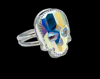 Skull ring/ Goth/ European AB Crystal/ Sterling Silver/Handcrafted/ Custom Sizes
