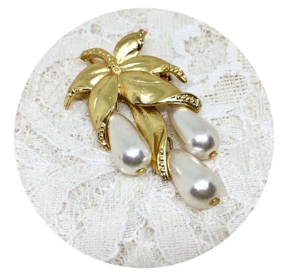 Vintage Faux Pearl Leaf Dangle Brooch