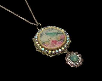 Handmade Wooden Disc Pendant, European Crystals, Bird and Crown Image