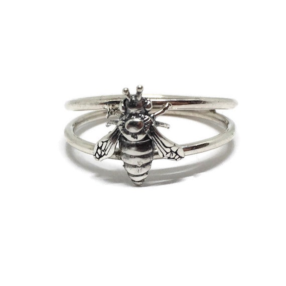 Honey Bee Ring, 925 Sterling Silver, Double Band,  Handcrafted in USA, Size Options
