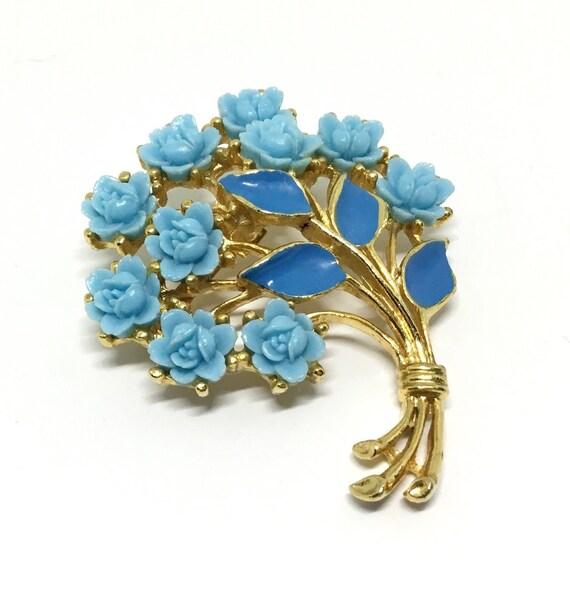 Vintage Carved Celluloid Roses Brooch,  Blue Roses and Enamel Leaves Brooch, Floral Brooch