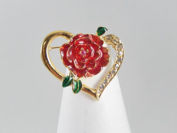 Vintage Red Enamel Rose in Goldtone Open Heart with Crystals