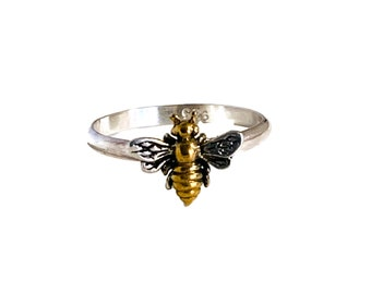 Handmade USA Bee Ring, 24kt Gold Plate, Honey Bee, Sterling Silver