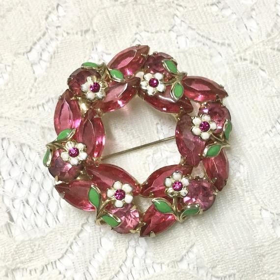 Vintage Pink Rhinestone Enamel Flower Wreath Brooch Pin