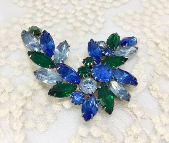 Vintage Blue and Green Rhinestone Floral Garland Brooch Pin
