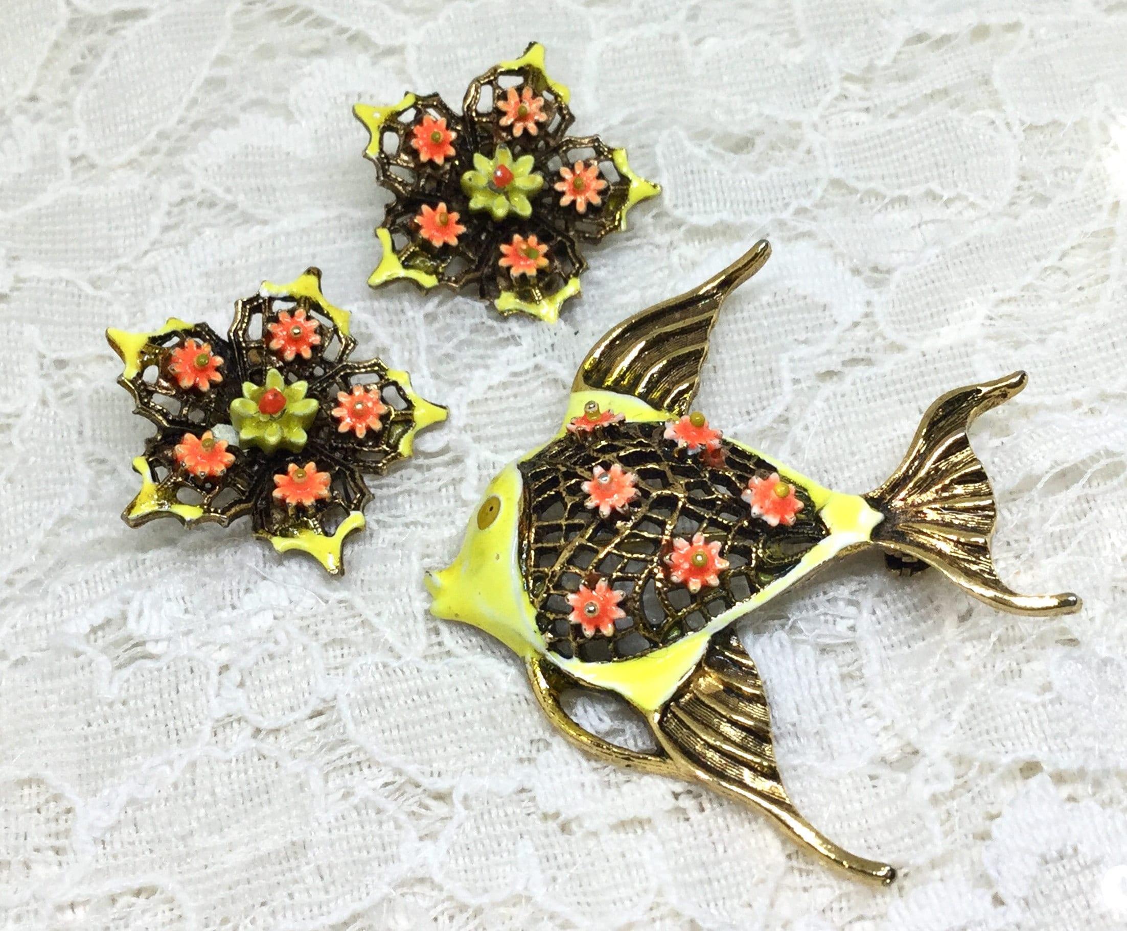 Yellow Enamel Brooch /& Earring Set