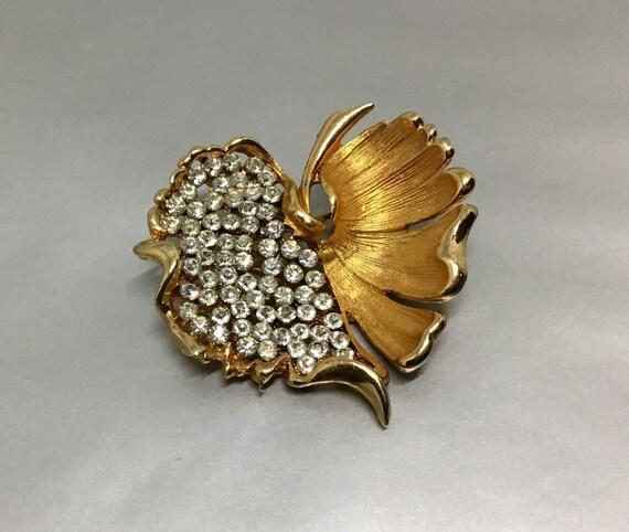 BSK Rhinestone Leaf Brooch, Goldtone Leaf Brooch, Rhinestone Jewelry, Vintage Leaf Brooch