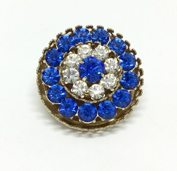 Vintage CORO Brooch/ Sparkly Rhinestones/ Layered/ Goldtone/ Vibrant Blue Rhinestones/ Clear Rhinestones/ Collectible/ Costume Jewelry