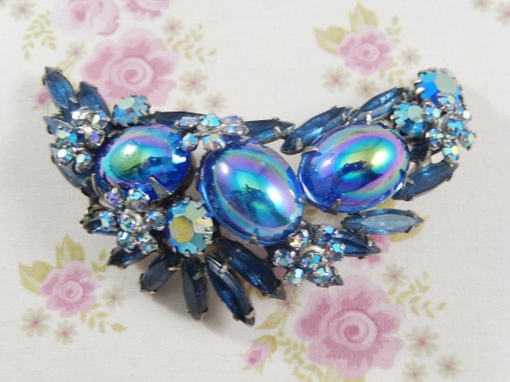 Vintage Blue AB Rhinestones with Carnival Glass Crescent Brooch Pin
