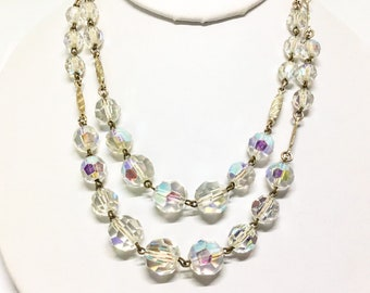 Vintage AB Glass Bead Necklace, Double Strand, AB Faceted Glass Beads, Vintage Jewelry