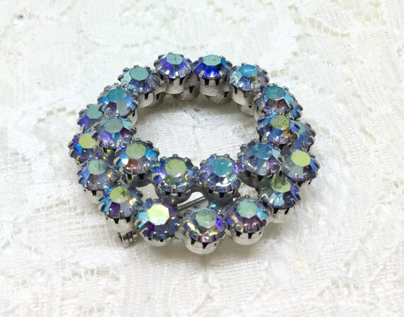 Vintage Unsigned Two Layer Rhinestone Circle Brooch Pin