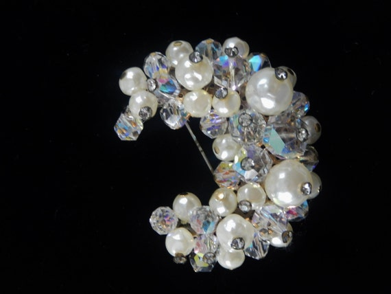 Vintage Faux Pearl and Bead Crescent Moon Brooch