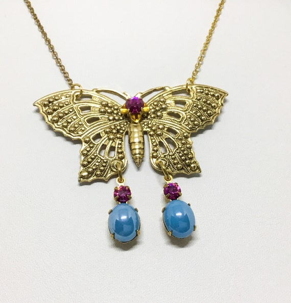 Handmade Butterfly Rhinestone and Bead Necklace, Openwork Brass Butterfly, Rhinestones & Beads, BOHO, Goldtone Chain