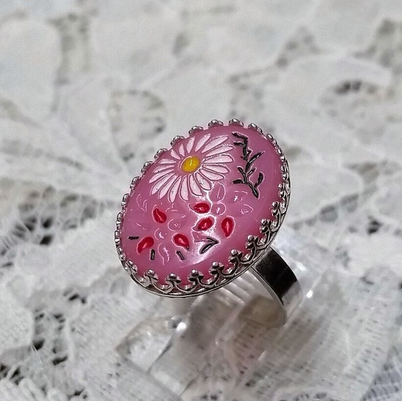 18mm x 13m Pink Floral Cabachon Ring- Size 6 1/2 - Sterling Silver