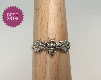 Handmade USA Bee Ring, 925 Flower Bee Ring, Stacking Ring, Bee Lovers