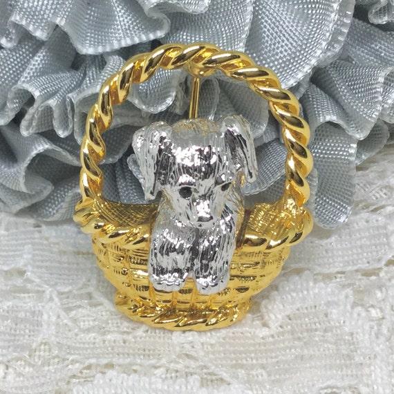 Vintage Joan Rivers Signed Dog in Basket Brooch Pin