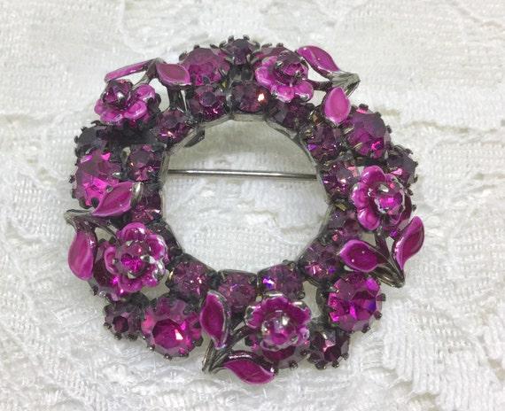 Vintage Fuchsia Rhinestone Enamel Flower Wreath Brooch Pin