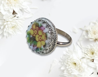 Handcrafted Floral Broken China Sterling Silver Ring, Broken China Jewelry