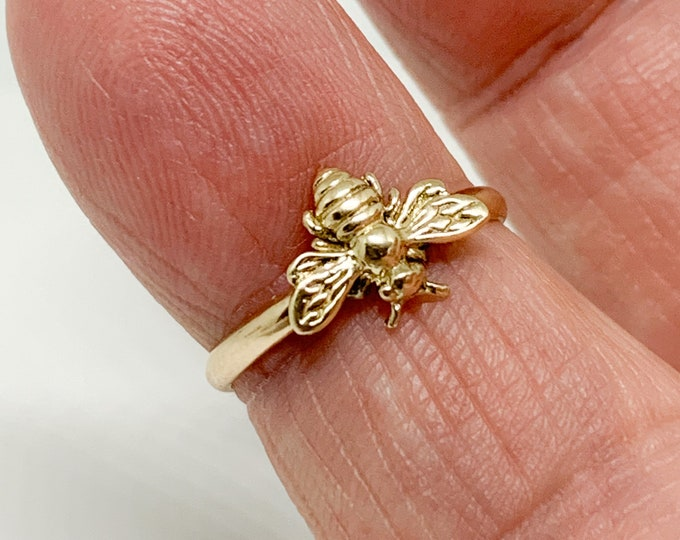 Featured listing image: Handmade USA Solid Gold Bee Ring, 14kt Yellow Gold, Honey Bee, Stacking Ring, Various Sizes, Made To Order.