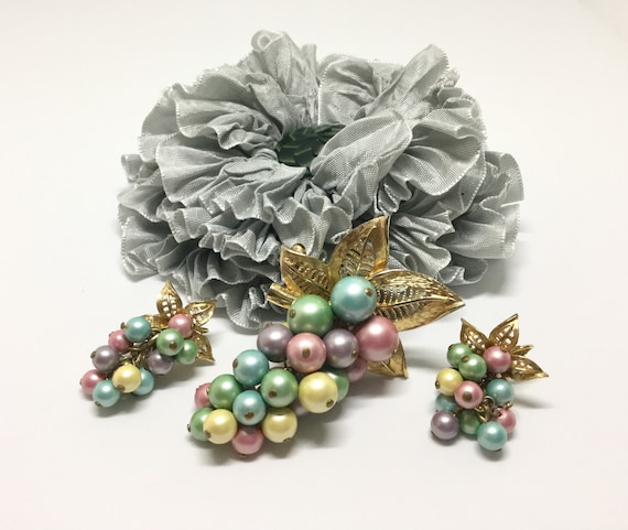 Vintage PARK LANE Pastel Faux Pearl Cascade Leaf Brooch/Pendant/Earrings
