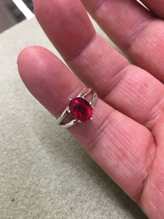 Red Faceted Gemstone/ Red Quartz/ Sterling Silver Ring/ 925 Sterling/ Handcrafted/ 9x7mm Faceted