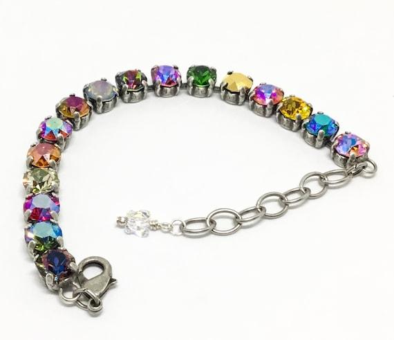 Swarovski Crystal Bracelet, Rhinestone Bracelet, Handcrafted Bracelet, Multicolor Crystals, 8mm Crystals, Sparkly Bracelet