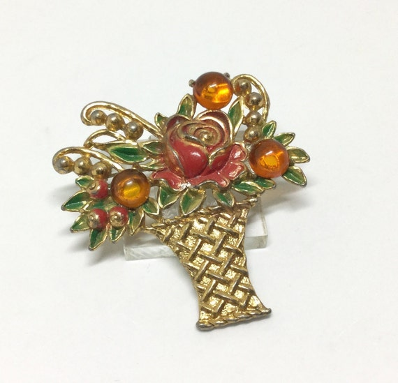 Flower Basket Brooch/ Vintage Brooch/ 1930s/ Flowers and Berries/ Unsigned/ Red and Green Enamel/ Lucite Oranges/ Costume Jewelry