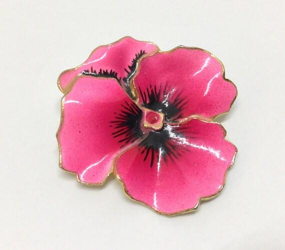 Vintage Sweet Pink Enamel Pansy Brooch Pin