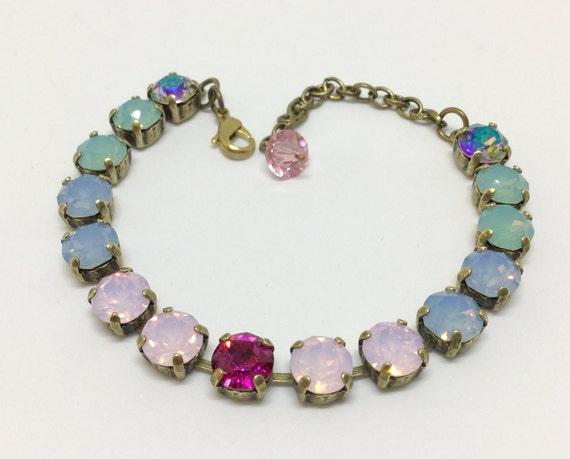 Swarovski Crystal Bracelet, AB and Opalescent Colors, Handcrafted Bracelet, Sparkling 8mm Crystals, Rhinestone Bracelet