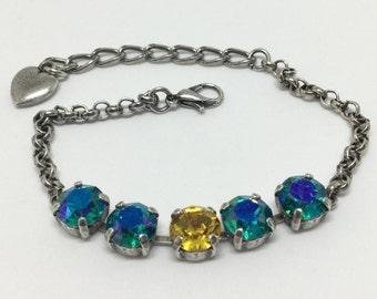 European Crystal Bracelet, Glacier Blue Crystals,  Center Sunflower Crystal, Sparkling 8mm Crystals