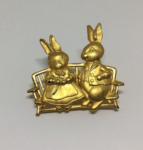 Vintage JJ Goldtone Courting Bunnies Brooch, Bunnies in Love Brooch, Whimsical Bunny Brooch