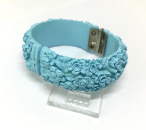 Vintage Celluloid Bracelet/Pastel Blue Floral/Hinged Clamper Design/Carved Floral Celluloid /Clustered Floral Pattern/Gift/Bridal Bauble