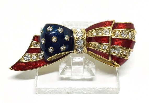Vintage Carolee Flag Brooch, USA Enamel Flag Bow, Swarovski Crystals,Patriotic Brooch, Carolee Collectors