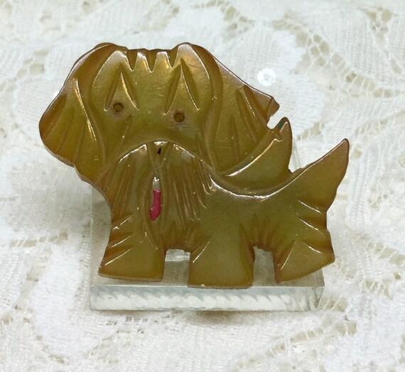 Vintage Adorable Carved Bakelite Dog Brooch Pin