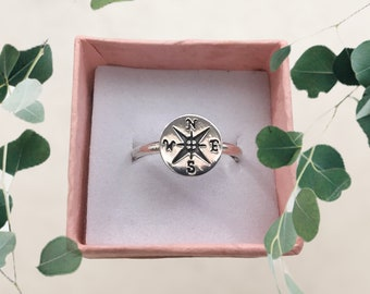 Handmade Sterling Silver Compass Ring, Rose Compass Ring, Stacking Ring, Boho, Made to Order