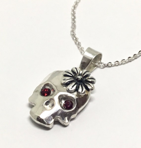 Cast Solid Sterling Silver Skull Pendant/ Handcrafted Skull/ Sterling Silver Daisy/ Red Crystal Eyes/ Goth Pendant/ Skull Jewelry