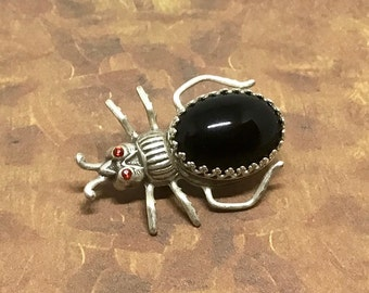 Silverplated Steampunk Bug Pin, Vintage European Crystal Body Steampunk Bug