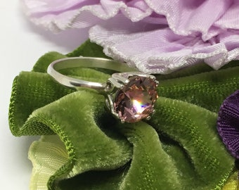 Sterling Silver Ring/ Made With A European Crystal/ Handcrafted