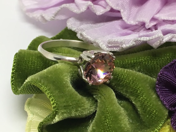 Sterling Silver Ring/ Made With A Swarovski Crystal/ Handcrafted