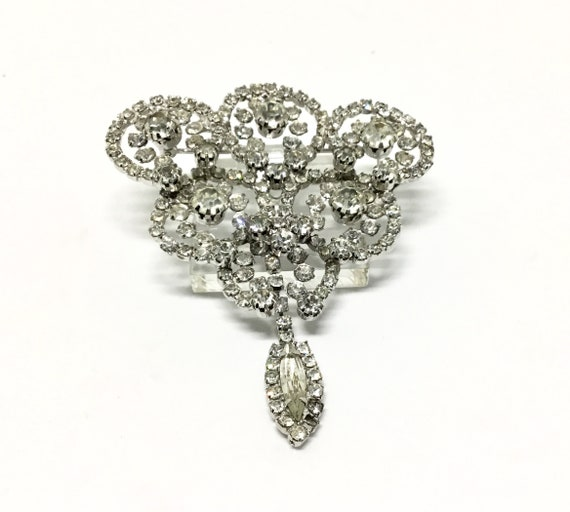 Weiss Clear Rhinestone Brooch, Floral Brooch, Rhinestone Dangle, Sparkly and Unique