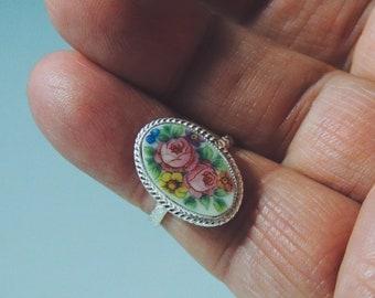 Broken China Ring, Hand Cut Porcelain Cabachon, Vintage Czech Plate, Handmade Sterling Silver Setting and Band, Size 8