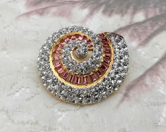Vintage Nolan Miller Crystal Shell Brooch, Pink and Clear Crystals, Spiral Shell, Super Sparkly