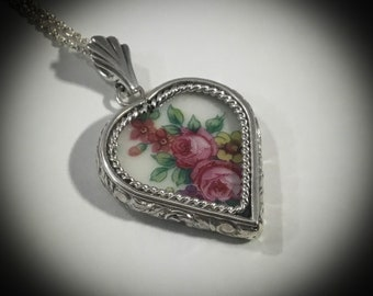 Handcrafted Floral Broken China Pendant, Pink Roses and Leaves, Handcrafted Sterling Silver Custom Setting, Broken China Jewelry