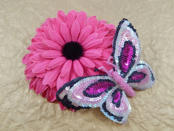 Vintage Gorgeous Pink AB Fuchsia Black Sequin and Bead Butterfly Applique Pin