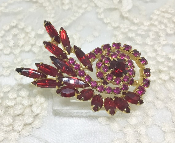 Vintage Red and Pink Rhinestone Flower Swirl Brooch Pin