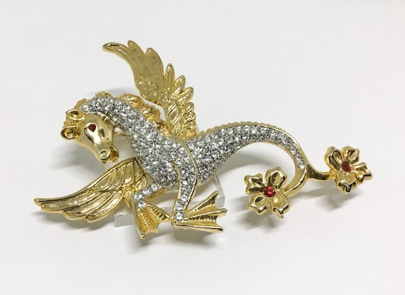 Fantasy Winged Horse Brooch, DIY Crafting, Whimsical Wedding, Sparkly Fantasy Horse