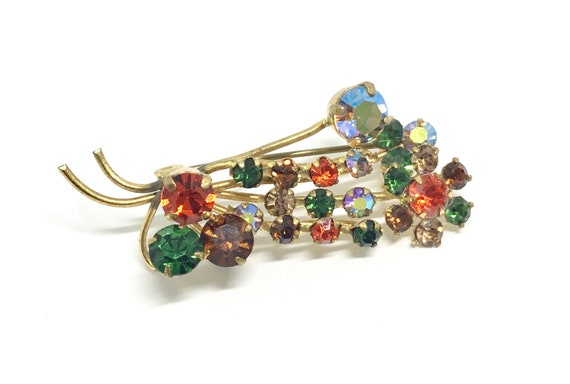 Vintage Rhinestone Brooch, Dainty Flower Brooch, Rhinestone Jewelry