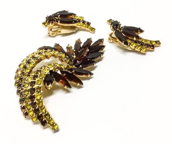 Vintage Rhinestone Brooch Set, Leaf Brooch, Brown Yellow Green Rhinestones, Rhinestone Jewelry, Unique Brooch, Clip Earrings
