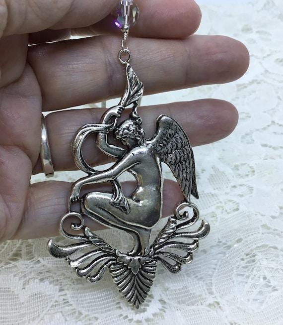 Goddess Angel Pendant/Sterling Plate Angel Goddess/Vintage French Angel/Art Nouveau/