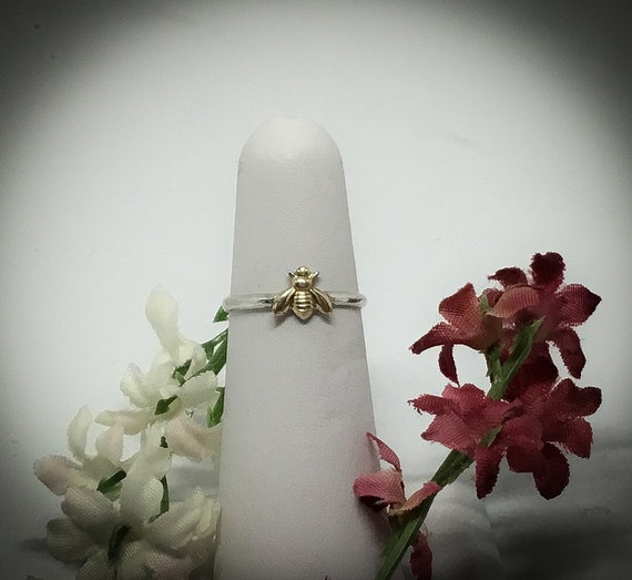14kt Goldplated Bee/ 925 Sterling Silver Ring/ Small Bee/ Discounted Shipping